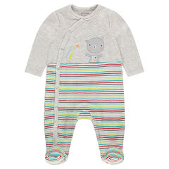 Velvet footed sleeper with a teddy bear patch and contrasting stripes