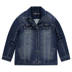 Junior - Denim-effect fleece jacket with sherpa lining