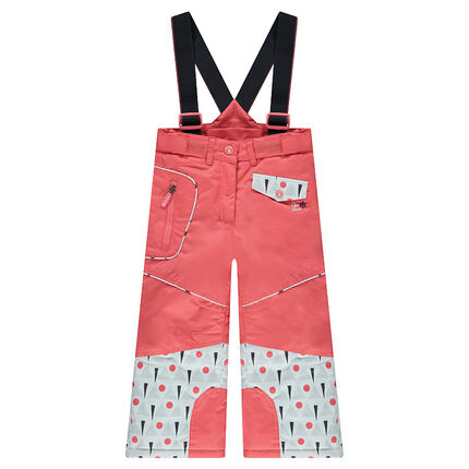 Ski pants with removable suspenders and a graphic print