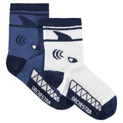 Set of 2 pairs of assorted socks with a jacquard shark motif