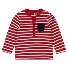 Long-sleeved striped tee-shirt with printed cat