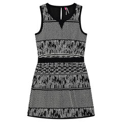 Sleeveless dress with an allover jacquard motif