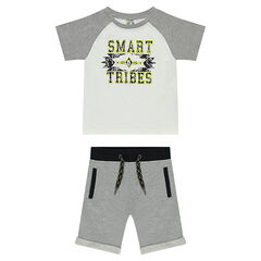 Printed t-shirt set with fleece bermuda shorts