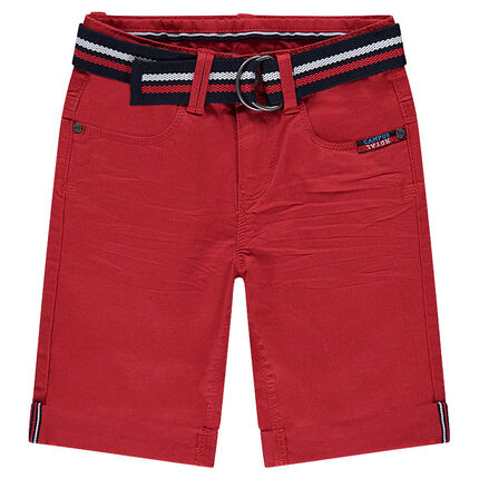 Crinkled-effect twill bermuda shorts with a removable braided belt