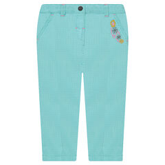 Cotton pants with embroidered flowers