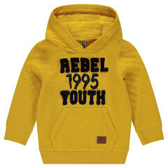 Fleece hooded sweatshirt with terry lettering