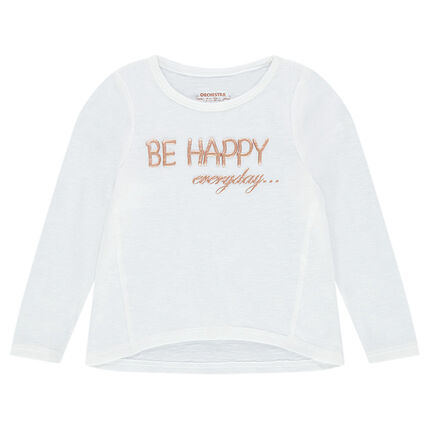 Long-sleeved thin knit tee-shirt with printed message