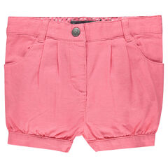 Plain-colored shorts in dobby cotton canvas