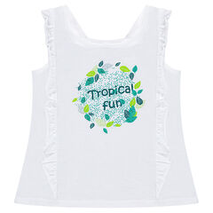 Jersey tank top with frills and a plant print