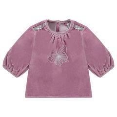 Panne velvet tunic with balloon sleeves