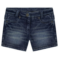 Like used and crinkled-effect denim shorts
