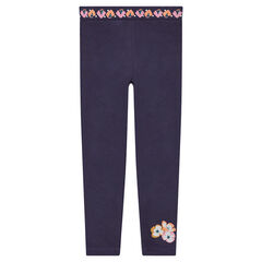 Jersey leggings with printed flowers