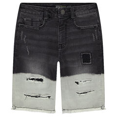 Junior - Two-tone denim Bermuda shorts with decorative worn details