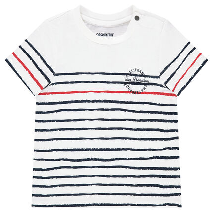 Short-sleeved jersey tee-shirt with contrasting stripes