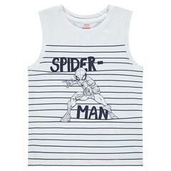 Jersey tank top with stripes and a ©Marvel Spiderman print
