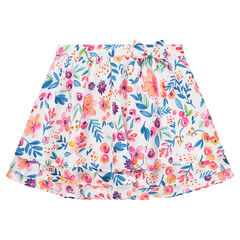 Frilled skater skirt with printed flowers