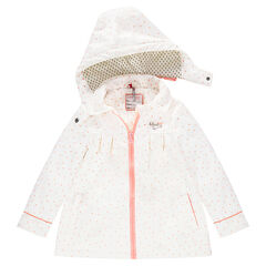 Sherpa-lined rubber parka with allover stars and hearts