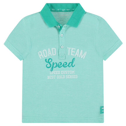 Junior - Polo shirt in piqué cotton with embroidered messages