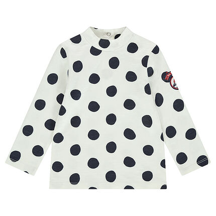 Thin jersey sweater with allover polka dots and an embroidered motif