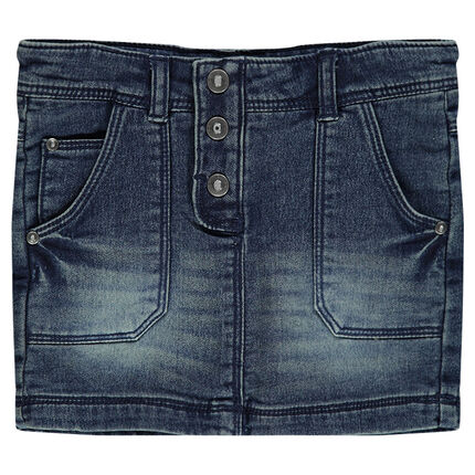 Denim-effect fleece short skirt