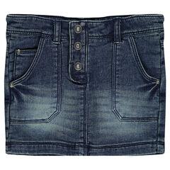 Junior - Denim-effect fleece short skirt