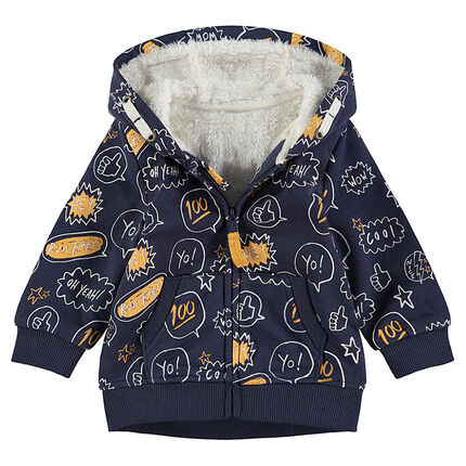 Heathered fleece jacket with a sherpa-lined hood and allover print