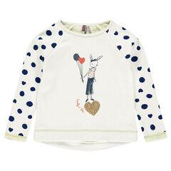 Fleece sweatshirt with print and sequins
