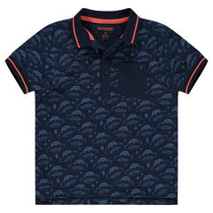 Short-sleeved polo shirt with allover flying saucers