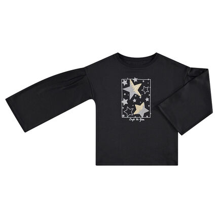 Junior - Fleece sweatshirt with flared sleeves stars and sequined stars