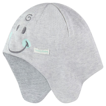 ©Smiley Baby jersey-lined knit cap with embroidered details