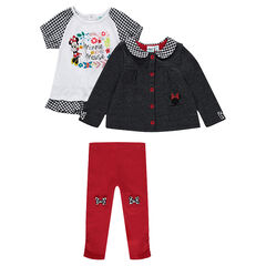 Disney Minnie Mouse ensemble with a tunic, leggings and a cardigan