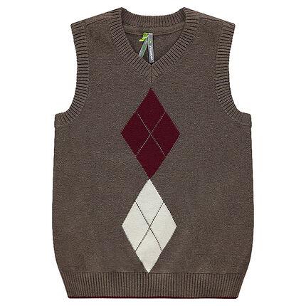 Sleeveless knit sweater with jacquard motif