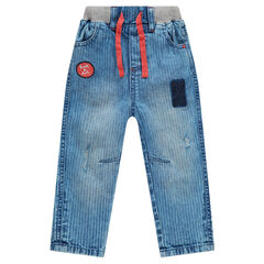 Soft jeans in light denim with an elastic waistband