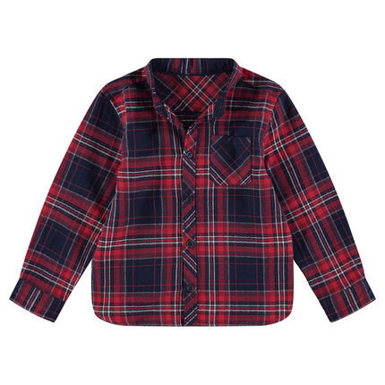 Long-sleeved flannel shirt with large checks