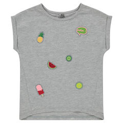 Short-sleeved tee-shirt with embroidered badges