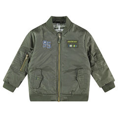 Khaki jacket with badges and pockets