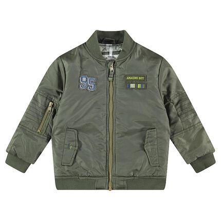 Khaki jacket with badges and pockets