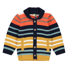 Knit cardigan with allover jacquard stripes.