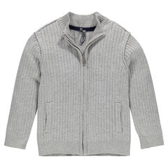 Slub knit ribbed cardigan