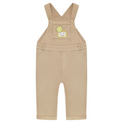 Long cotton overalls with animal badges