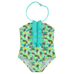 1-piece swimsuit with an allover plant print