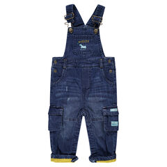 Jersey-lined used-effect denim overalls with pockets