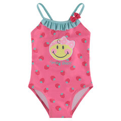 1-piece swimsuit with allover strawberries and a ©Smiley print