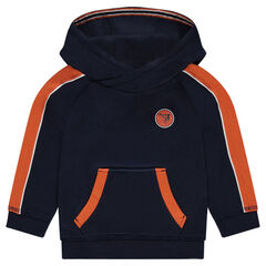 Hooded sweatshirt with contrasting stripes