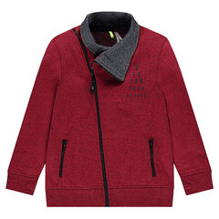 Junior - Fleece jacket with asymmetrical opening and printed message