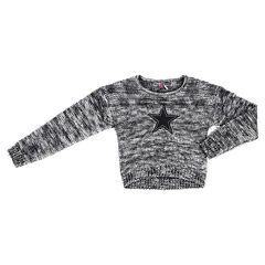 Junior - Short heathered knit sweater with star patch