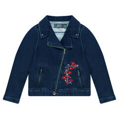Denim-effect fleece biker jacket with embroidered flowers