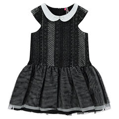 Frilled dress with lace motif and Peter Pan collar