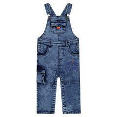 Snow wash-effect fleece overalls with pockets