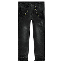Used-effect slim fit jeans with patches